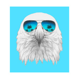 Portrait of Eagle with Mirror Sunglasses Hand Drawn Illustration