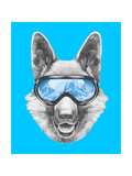 Portrait of German Shepherd with Ski Goggles Hand Drawn Illustration
