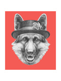 Portrait of German Shepherd with Hat Hand Drawn Illustration