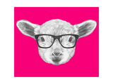 Portrait of Lamb with Glasses. Hand Drawn Illustration. Reproduction d'art par Victoria_novak