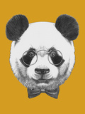 Original Drawing of Panda with Glasses and Bow Tie Isolated