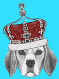 Portrait of Beagle Dog with Crown Hand Drawn Illustration