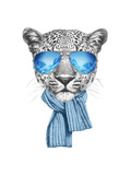 Portrait of Leopard with Mirror Sunglasses and Scarf Hand Drawn Illustration