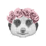 Portrait of Mongoose with Floral Head Wreath  Hand Drawn Illustration