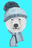 Portrait of Polar Bear with Hat and Scarf Hand Drawn Illustration