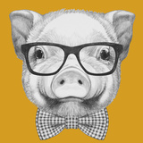 Portrait of Piggy with Glasses and Bow Tie Hand Drawn Illustration