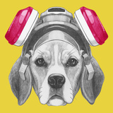 Portrait of Beagle Dog with Gas Mask Hand Drawn Illustration