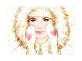 Woman in Fur Coat   Winter Accessories Young Beauty Woman with Hat Watercolor Illustration