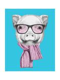 Portrait of Piggy with Glasses and Scarf. Hand Drawn Illustration. Reproduction d'art par Victoria_novak