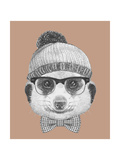Portrait of Hipster Animal Mongoose with Glasses  Hat and Bow Tie Hand Drawn Illustration