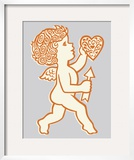 Cupid Holding Heart and Arrow