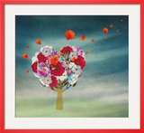 Flower Tree in the Shape of Heart  Valentine