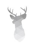 Grey Geometric Deer Reproduction d'art par Melinda Wood