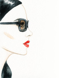 Woman Face with Glasses Fashion Illustration