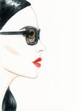 Woman Face with Glasses. Fashion Illustration Papier Photo par Anna Ismagilova