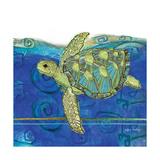Coastal-Sea Turtle-Swirly Ocean Reproduction d'art par Robbin Rawlings