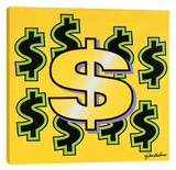 Dollar Sign Gallery Wrapped Canvas by Steve Kaufman