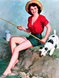 Fishing Pin-Up and Dog c1940s