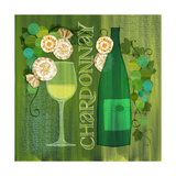 Blossoming Vineyards Wine Bottle Chardonay and Flowers
