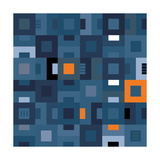 Geometric Abstract City Squares in Blue and Orange Reproduction d'art par Robin Pickens