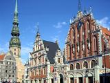 House of Blackheads and St Peters Church  Riga  Latvia