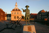 Statue of Captain Vancouver at Dusk on the Purfleet Quay  Kings Lynn  Norfolk