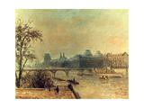 La Seine Et Le Louvre  Paris  1903