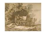 Boy with a Cart - Sketch with Pen and Wash  18th Century