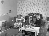 Typical Working Class Living Room Scene with Family  11 July 1962