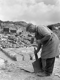Dressing Slate at Trebarwith Slate Quarry  Cornwall  1959