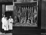 Butchers Standing Next to their Shop Window Display  South Yorkshire  1955