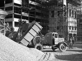 Early 1950S Bedford M Tipper Delivering Aggregates to a Building Site  South Yorkshire  July 1954
