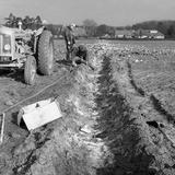 Contractors Setting Explosives in a Trench in Firbeck  Near Rotherham  1962