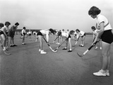 Girls Hockey Match  Airedale School  Castleford  West Yorkshire  1962