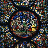 Stained Glass Depiction of Christs Entry to Jerusalem  12th Century