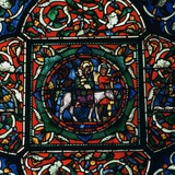 Stained Glass Depiction of the Holy Family Fleeing to Egypt  12th Century