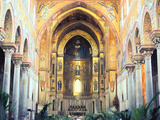 Cathedral Interior with Mosaics  Monreale  Sicily  Italy