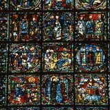 Detail of the Great West Window of Chartres Cathedral  12th Century