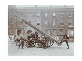 Firemen Demonstrating a Horse-Drawm Escape Vehicle  London Fire Brigade Headquarters  London  1910