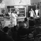 Butcher from Danish Bacon Giving a Demonstration  Kilnhurst  South Yorkshire  1961