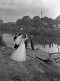 Wedding Couple Crossing the River Don  Mexborough  South Yorkshire  1961