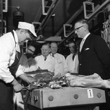 Apprentice Butcher Showing His Work to Competition Judges  Barnsley  South Yorkshire  1963