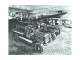 Fire Engines at Cannon Street Fire Station  City of London  1913