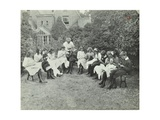 Pupils in the Garden Doing Needlework  Birley House Open Air School  Forest Hill  London  1908