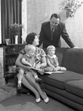 Family Group Looking at a Brochure  Doncaster  South Yorkshire  1963