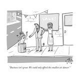 """""""Business isn't great We could only afford the smallest air dancer"""" - New Yorker Cartoon"""