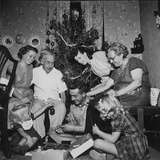 Prisoner of War Home from a Korean Prison Camp Celebrating Christmas in August with His Family