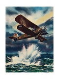 An Artists Impression of a Fairey Swordfish Sinking a U Boat in the North Sea  1940
