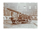 Firemen Aboard a Motor Fire Escape Vehicle  London Fire Brigade Headquarters  London  1909
