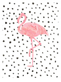 Pink Flamingo on Polka Dots